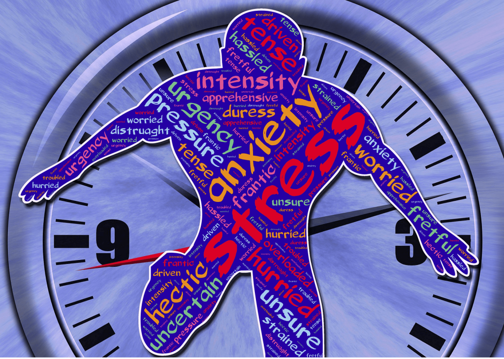 anxiety and stress man and clock