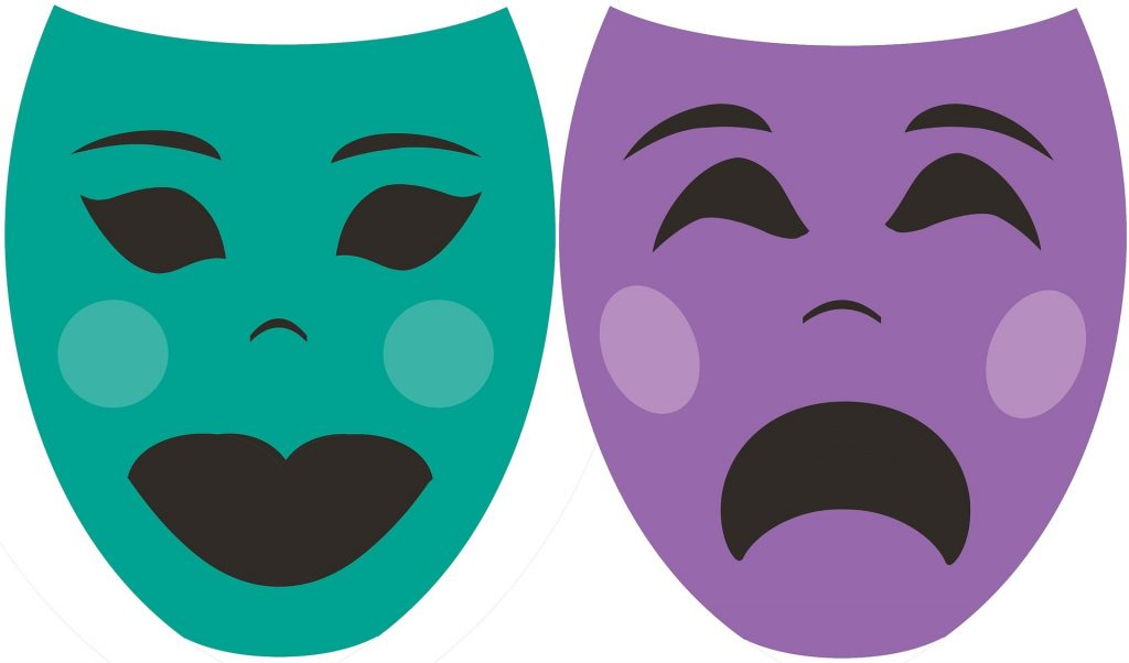 theatre mask purple green
